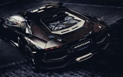 Top view of a black Lamborghini Aventador wallpaper