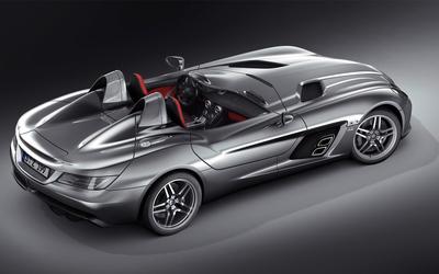Top view of a silver Mercedes-Benz SLR McLaren wallpaper