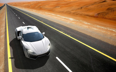 Top view of a white Lykan HyperSport on the road wallpaper