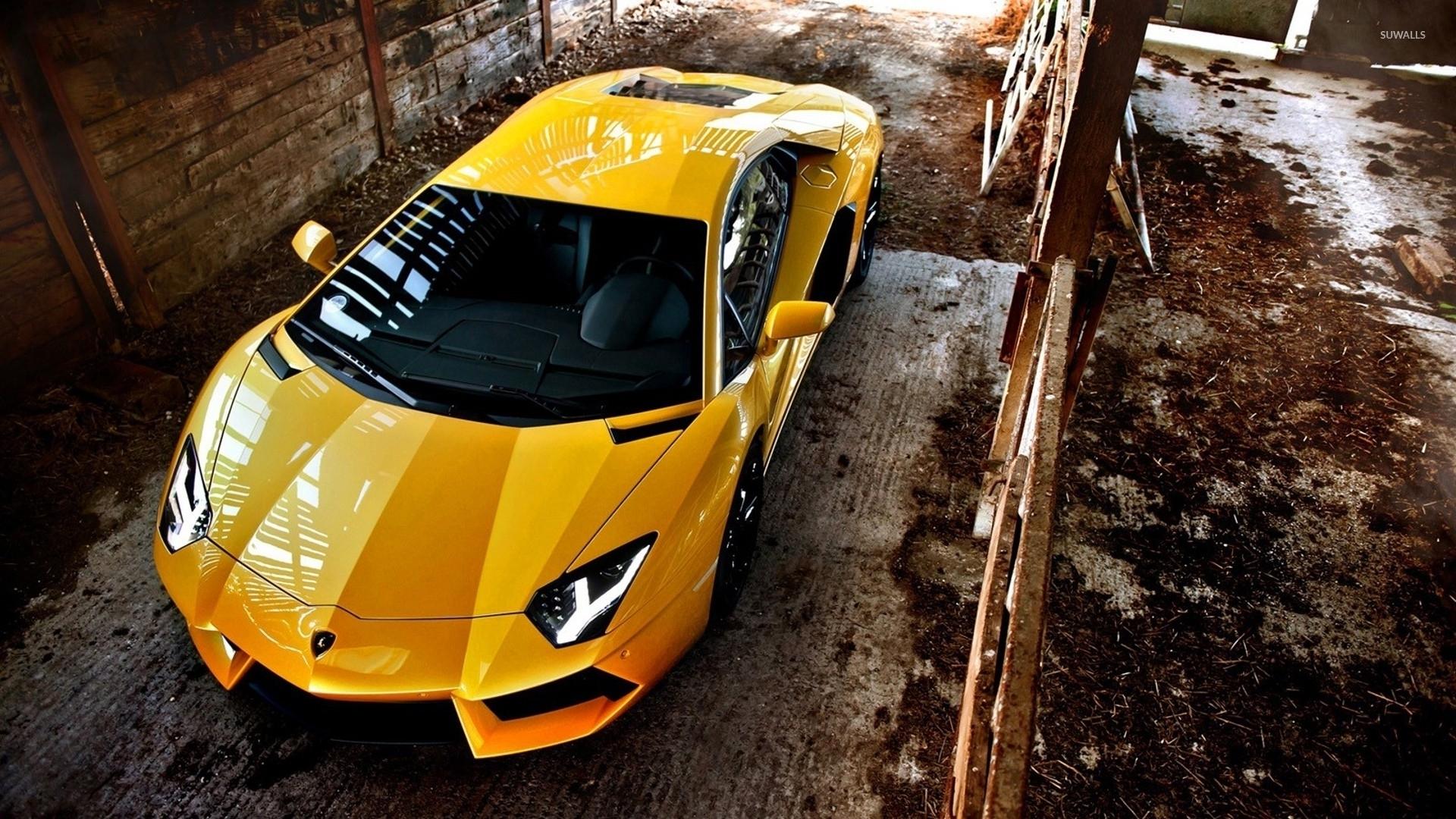 Top View Of A Yellow Lamborghini Aventador Wallpaper