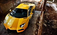 Top view of a yellow Lamborghini Aventador wallpaper 1920x1080 jpg