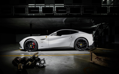 White 2014 PP Performance Ferrari F12berlinetta side view wallpaper