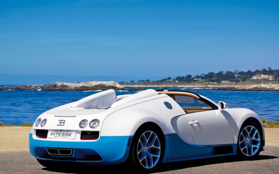 White and blue Vitesse Bugatti Veyron wallpaper