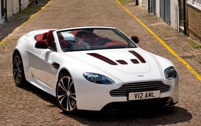 White Aston Martin V12 Vantage wallpaper