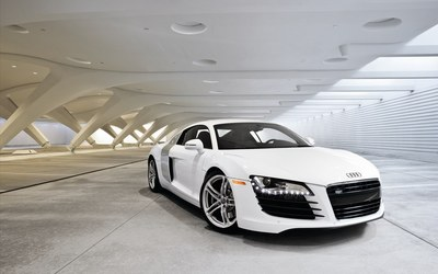 White Audi R8 in a parking lot wallpaper