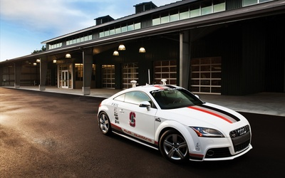 White Audi TTS quattro side view wallpaper