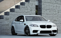 White BMW M5 front side view wallpaper 1920x1200 jpg