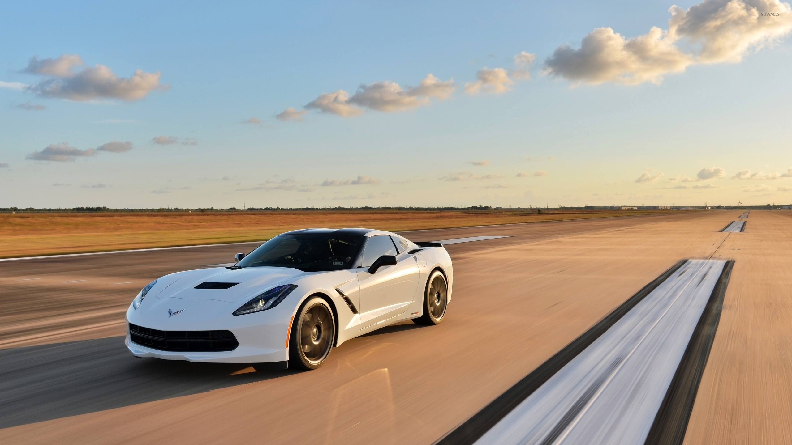 White Chevrolet Corvette C7 Stingray Wallpaper