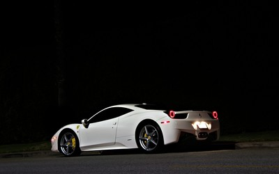 White Ferrari 458 Italia back side view at night Wallpaper