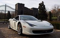 White Ferrari 458 Italia in the garden wallpaper 2560x1600 jpg