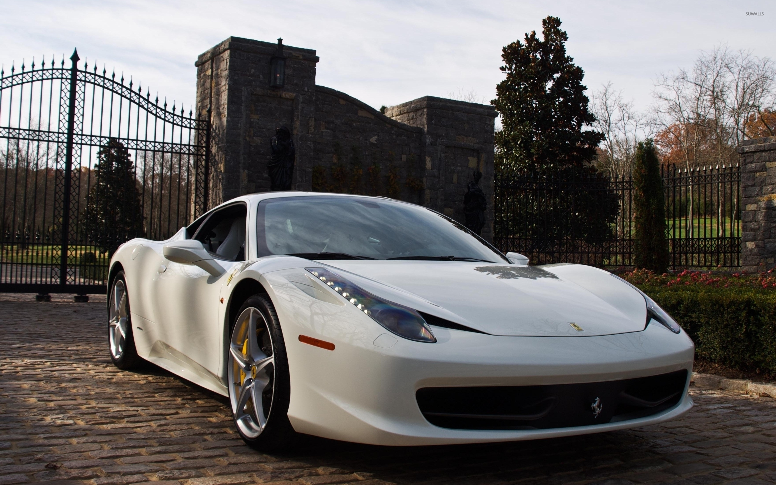 White Ferrari 458 Italia in the garden wallpaper - Car ...
