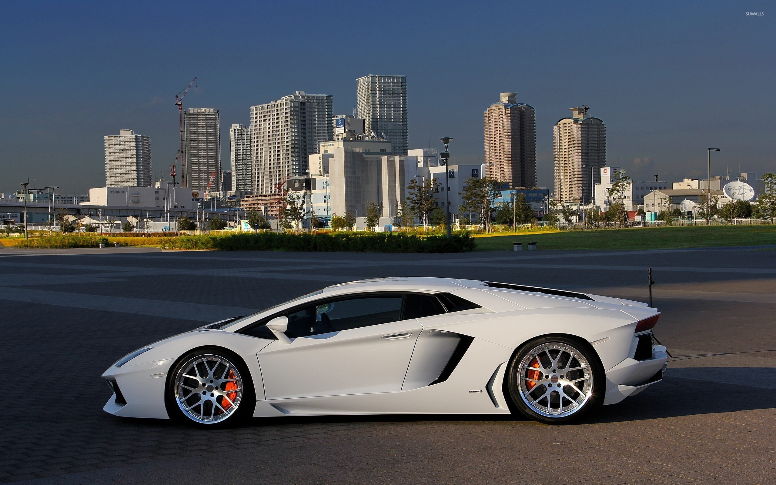 White Lamborghini Aventador side view wallpaper - Car ...