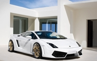 White Lamborghini Gallardo in front of a mansion wallpaper 1920x1200 jpg
