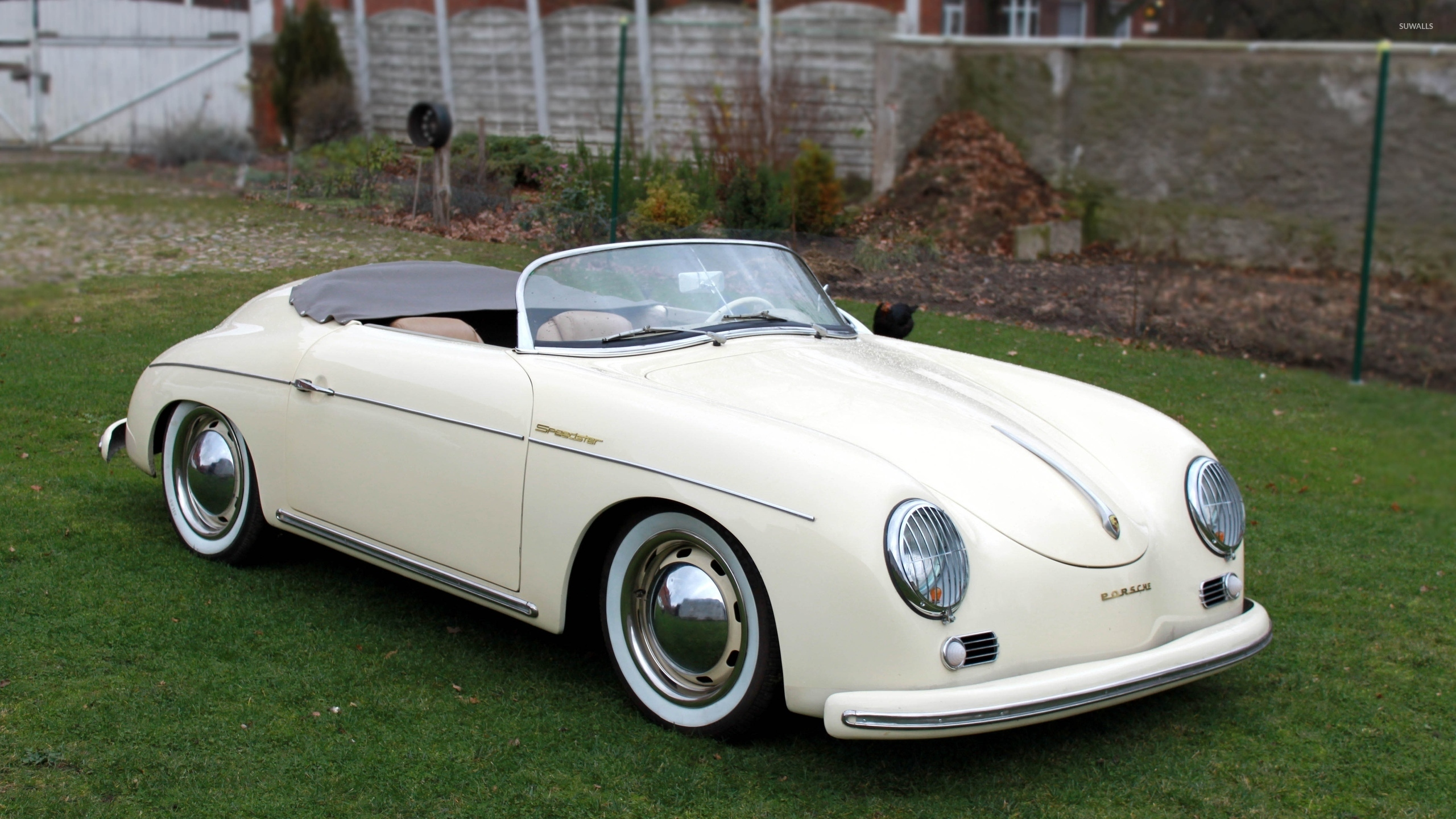 White Porsche 356 Speedster Front Side View Wallpaper Car Wallpapers 50898
