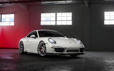 White Porsche 991 in a garage wallpaper