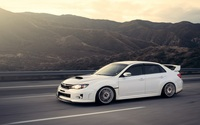White Subaru Impreza WRX STI on the road wallpaper 1920x1080 jpg