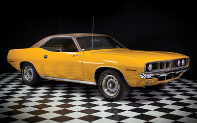 Yellow 1971 Plymouth Barracuda Gran Coupe side view wallpaper