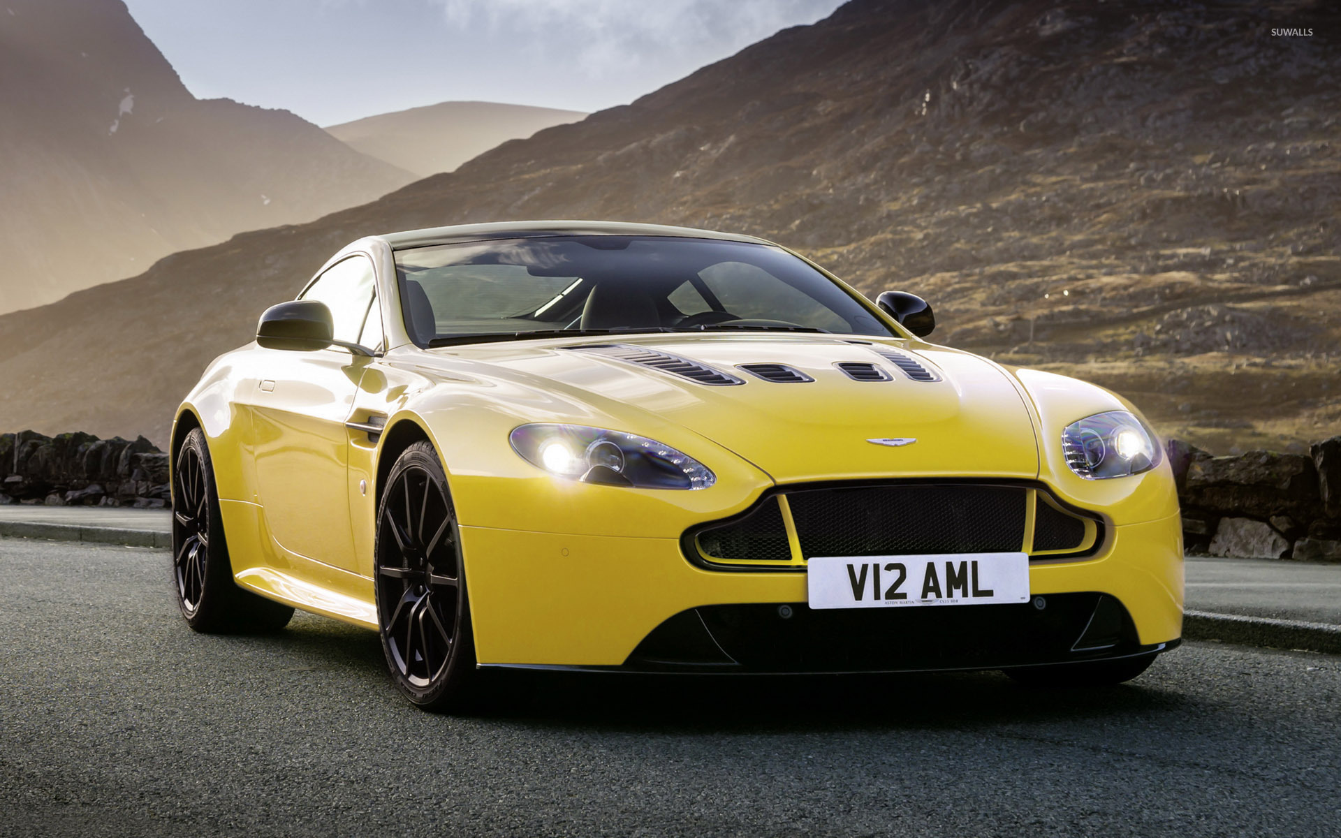 Yellow Aston Martin Vantage S On The Road Wallpaper Car Wallpapers 52152