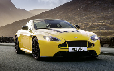 Yellow Aston Martin Vantage S on the road wallpaper
