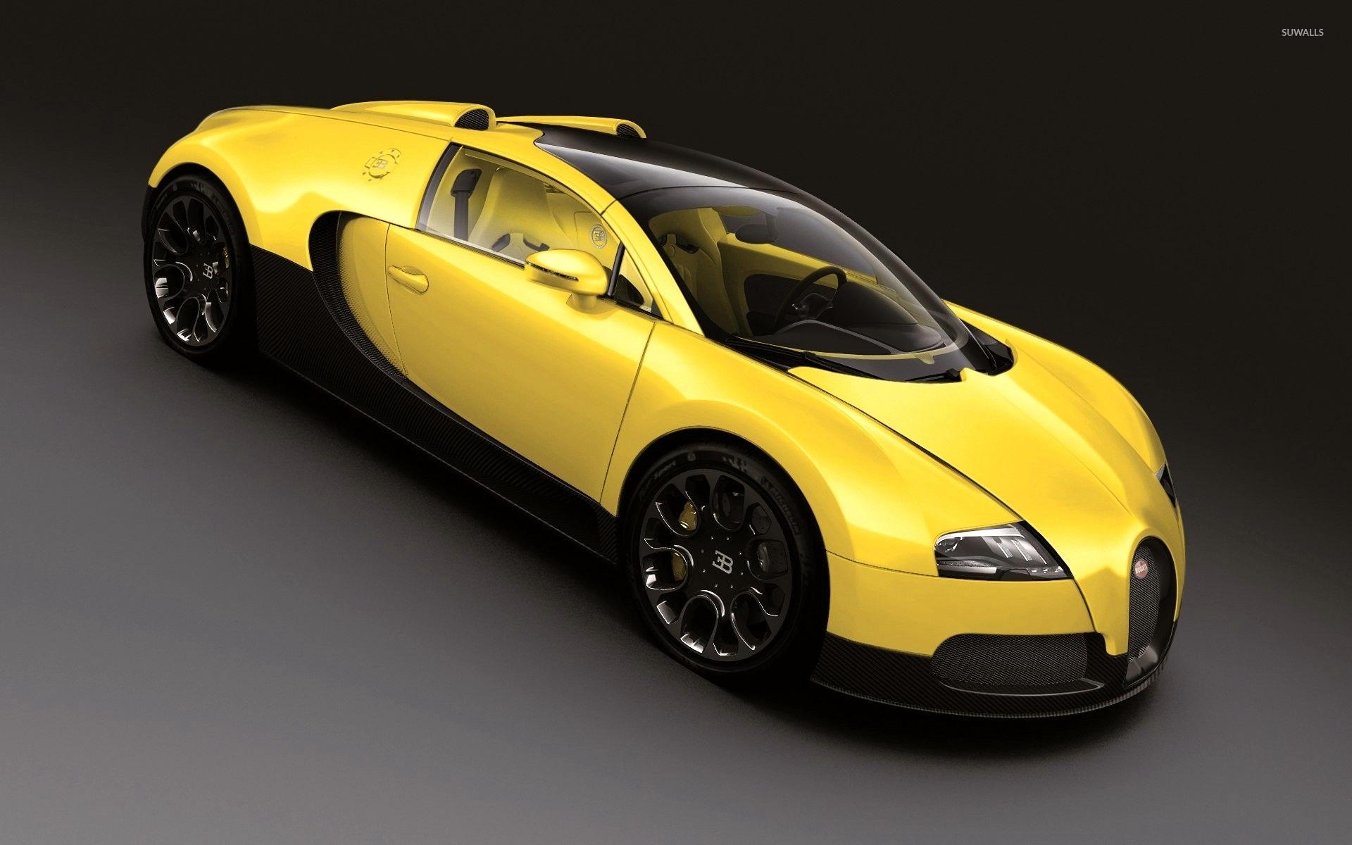 Yellow Bugatti Veyron Top View Wallpaper 1920x1200 Jpg