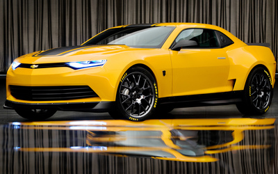Yellow Chevrolet Camaro with headlights on wallpaper