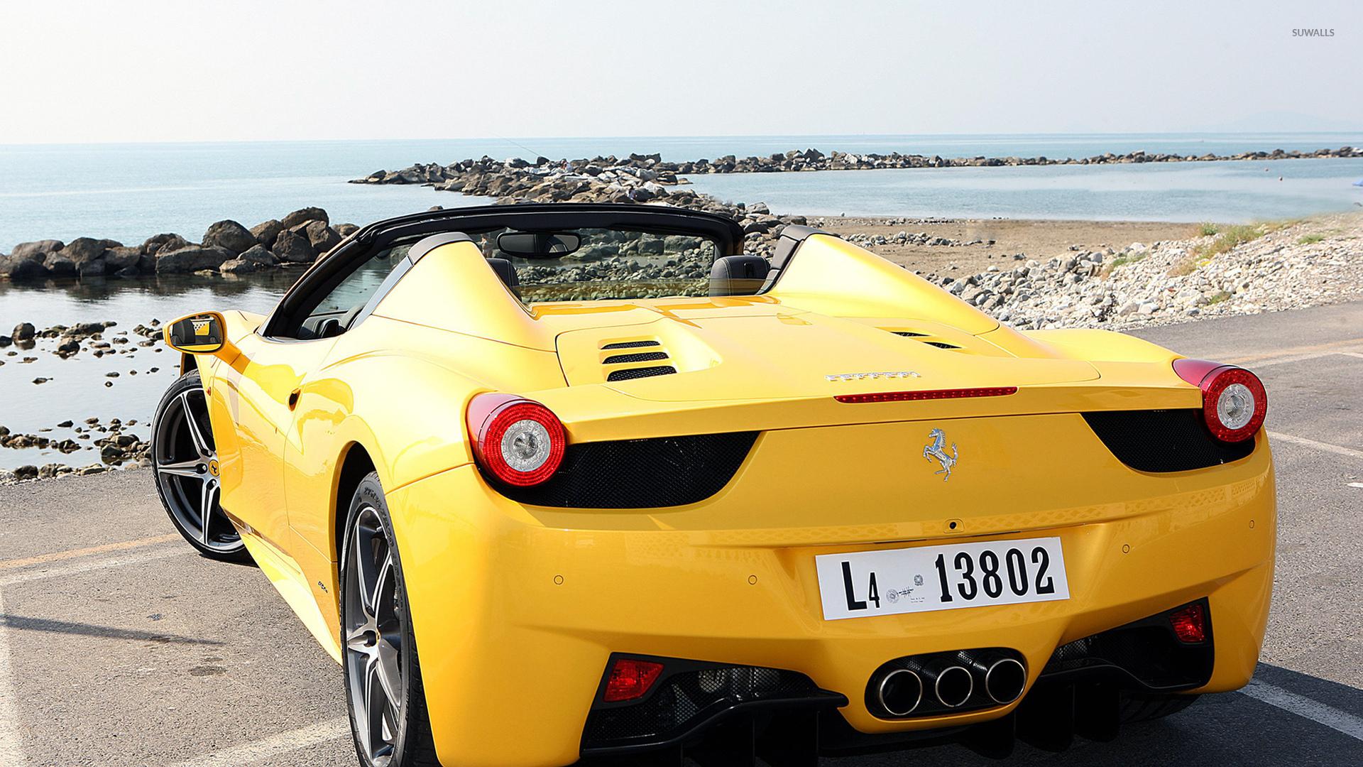 Yellow Ferrari 458 Spider back view wallpaper - Car ...
