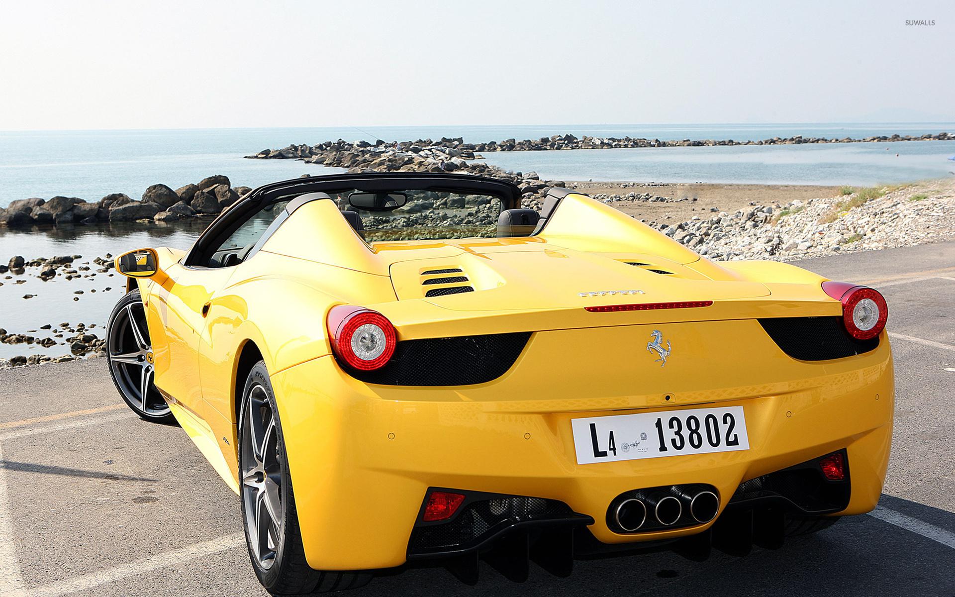 Yellow Ferrari 458 Spider Back View Wallpaper Car Wallpapers 51679