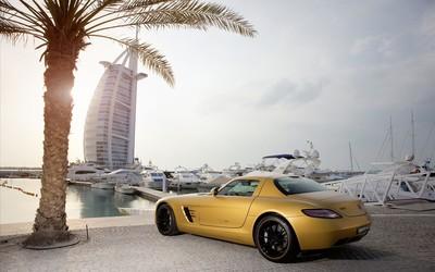 Yellow Mercedes-Benz SLS AMG in Dubai wallpaper