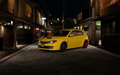 Yellow Subaru Impreza WRX STI in Chinatown wallpaper