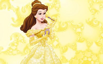 Belle in a beautiful golden dress - Beauty and the Beast wallpaper
