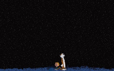 Calvin And Hobbes Watching The Stars Wallpaper Cartoon
