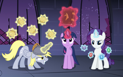 Derpy Hooves, Twilight Sparkle and Rarity wallpaper