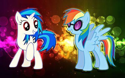 DJ Pon-3 and Rainbow Dash wallpaper