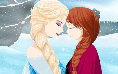 Elsa and Anna from Frozen wallpaper
