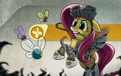 Fluttershy Freeman and Parasprite wallpaper