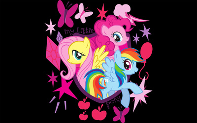 Fluttershy, Pinkie Pie and Rainbow Dash wallpaper
