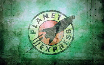 Green Grunge Planet Express Stamp wallpaper