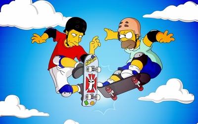 Homer and Tony Hawk wallpaper