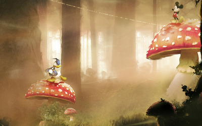 Mickey and Donald on giant mushrooms wallpaper
