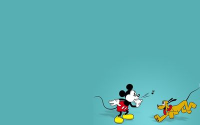 Mickey playing with Pluto wallpaper