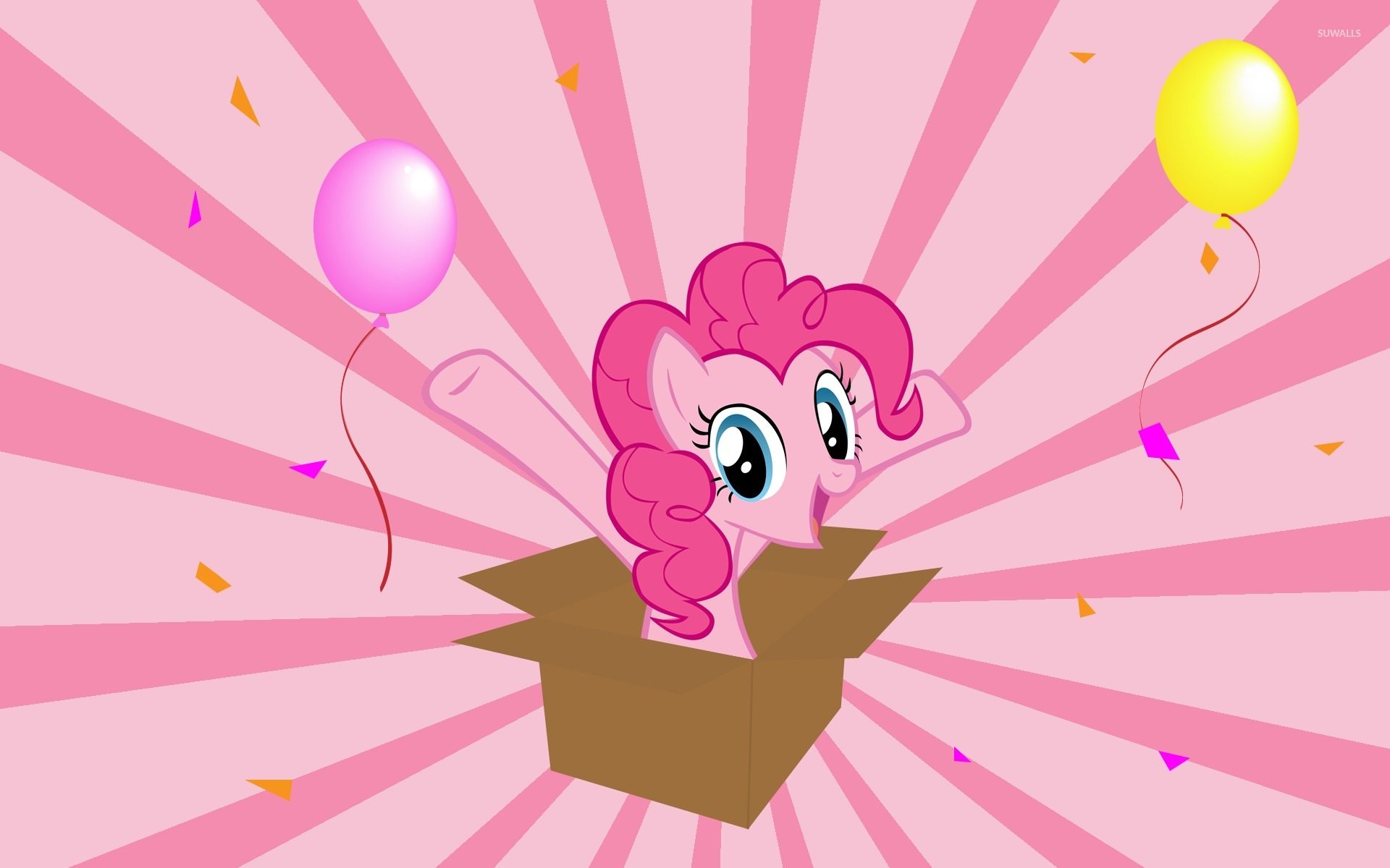 Pinkie Pie In A Gift Box My Little Pony Wallpaper Cartoon