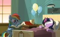 Rainbow Dash reading to Twilight Sparkle in the hospital wallpaper 3840x2160 jpg