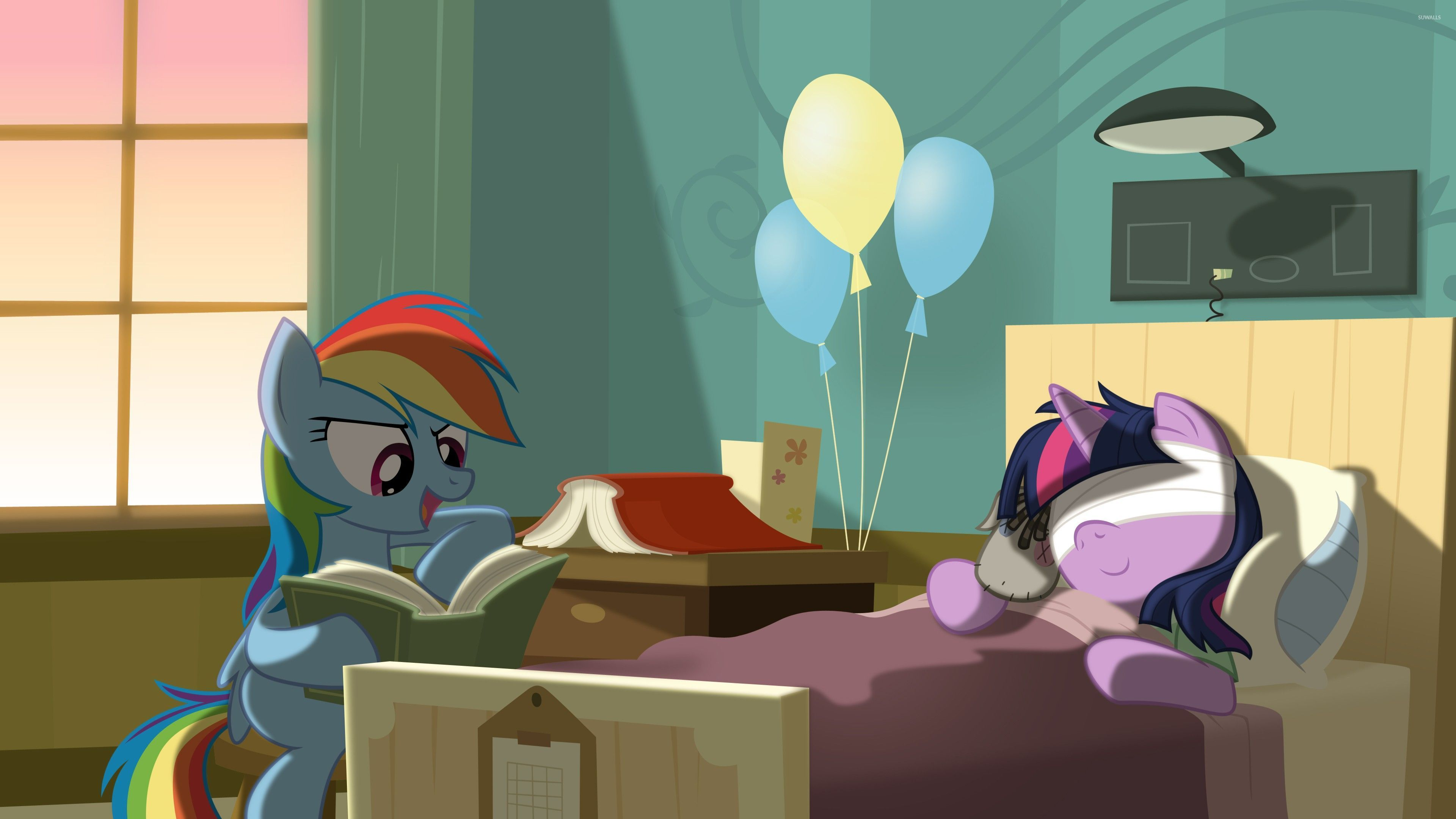 rainbow dash reading to twilight