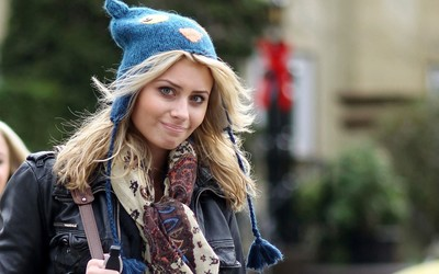 Aly Michalka with a blue knit hat wallpaper