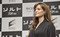 Angelina Jolie in a dark gray dress wallpaper 1920x1200 jpg