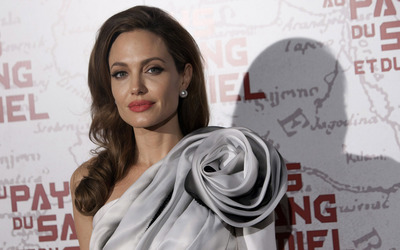 Angelina Jolie with a gray rose on her dress wallpaper