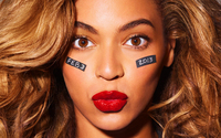 Beyonce with red lips close-up wallpaper 1920x1200 jpg