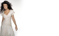 Brunette Christina Aguilera in a white dress wallpaper 1920x1080 jpg