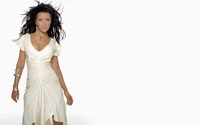 Brunette Christina Aguilera with hair blowing in the wind wallpaper 1920x1200 jpg