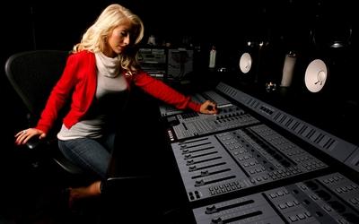 Christina Aguilera in a recording studio wallpaper